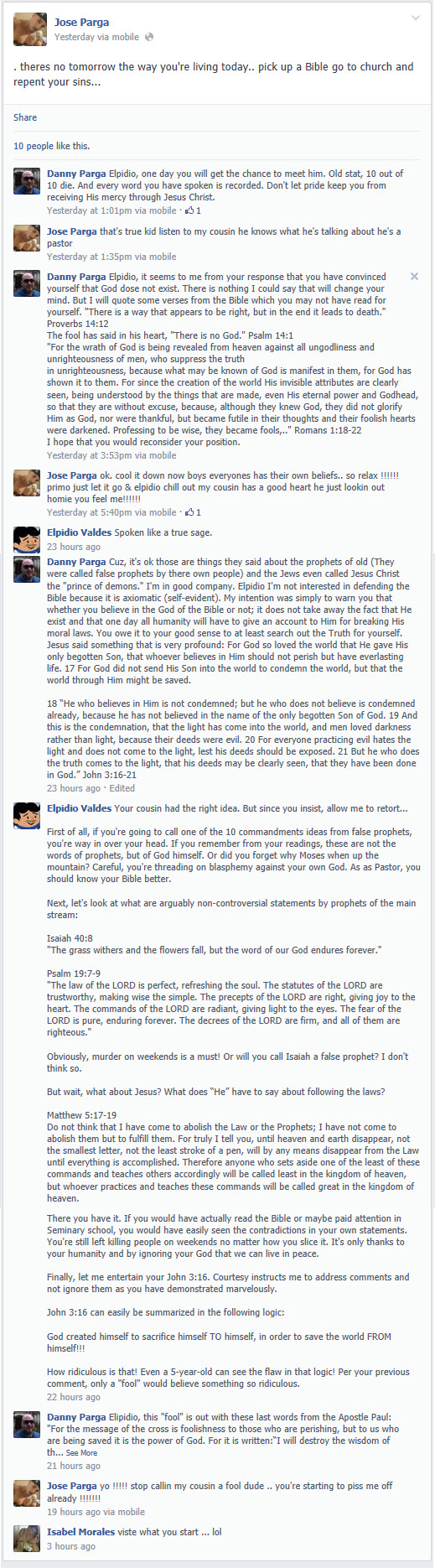 Edited Facebook debate between Elpidio Valdes and Pastor Daniel Praga